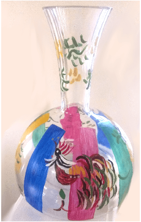 Crystal Decanter Of Colorful Rooster